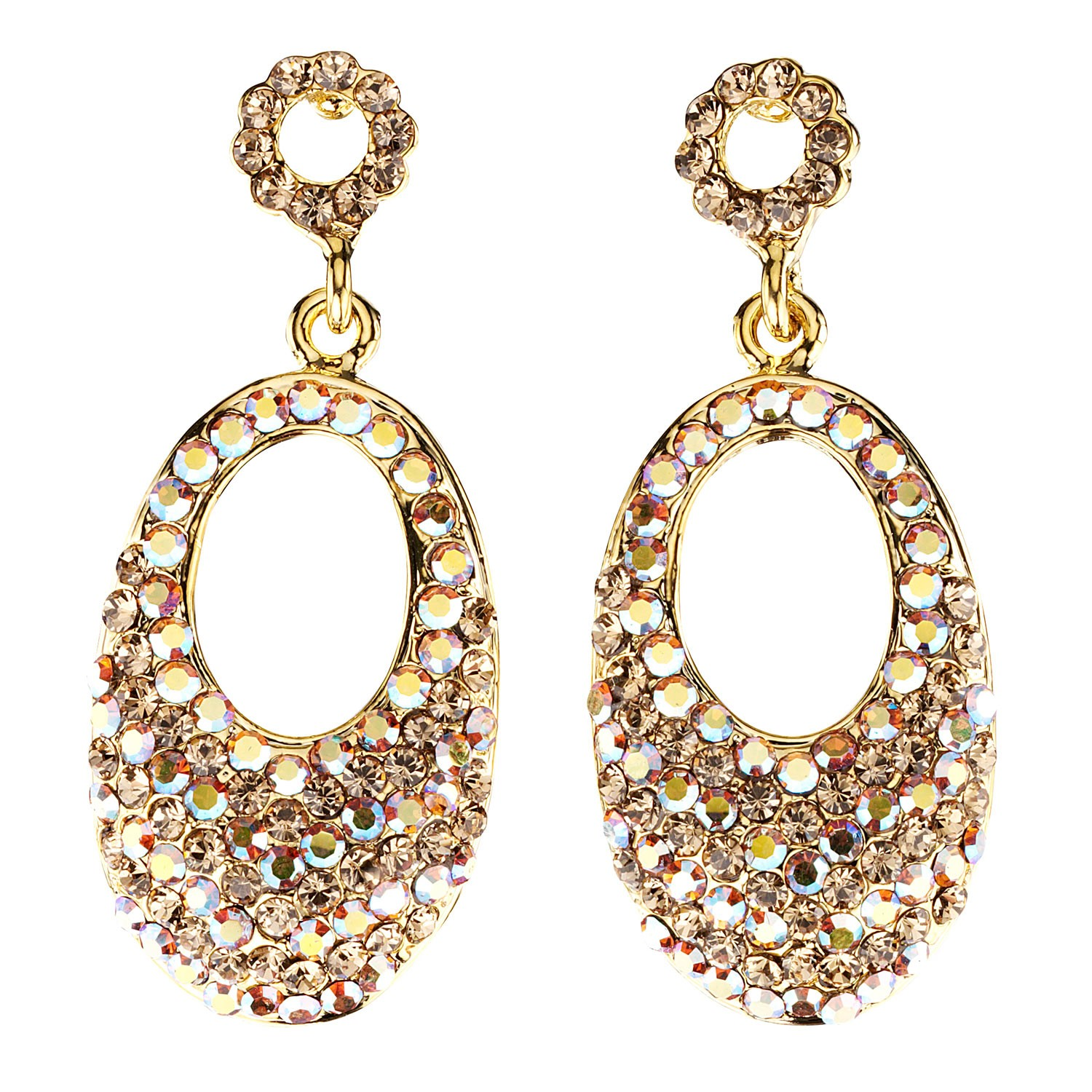 478b97d91 Swarovski Crystal Oval Crystal Drop Earrings with AB Topaz and Topaz ...