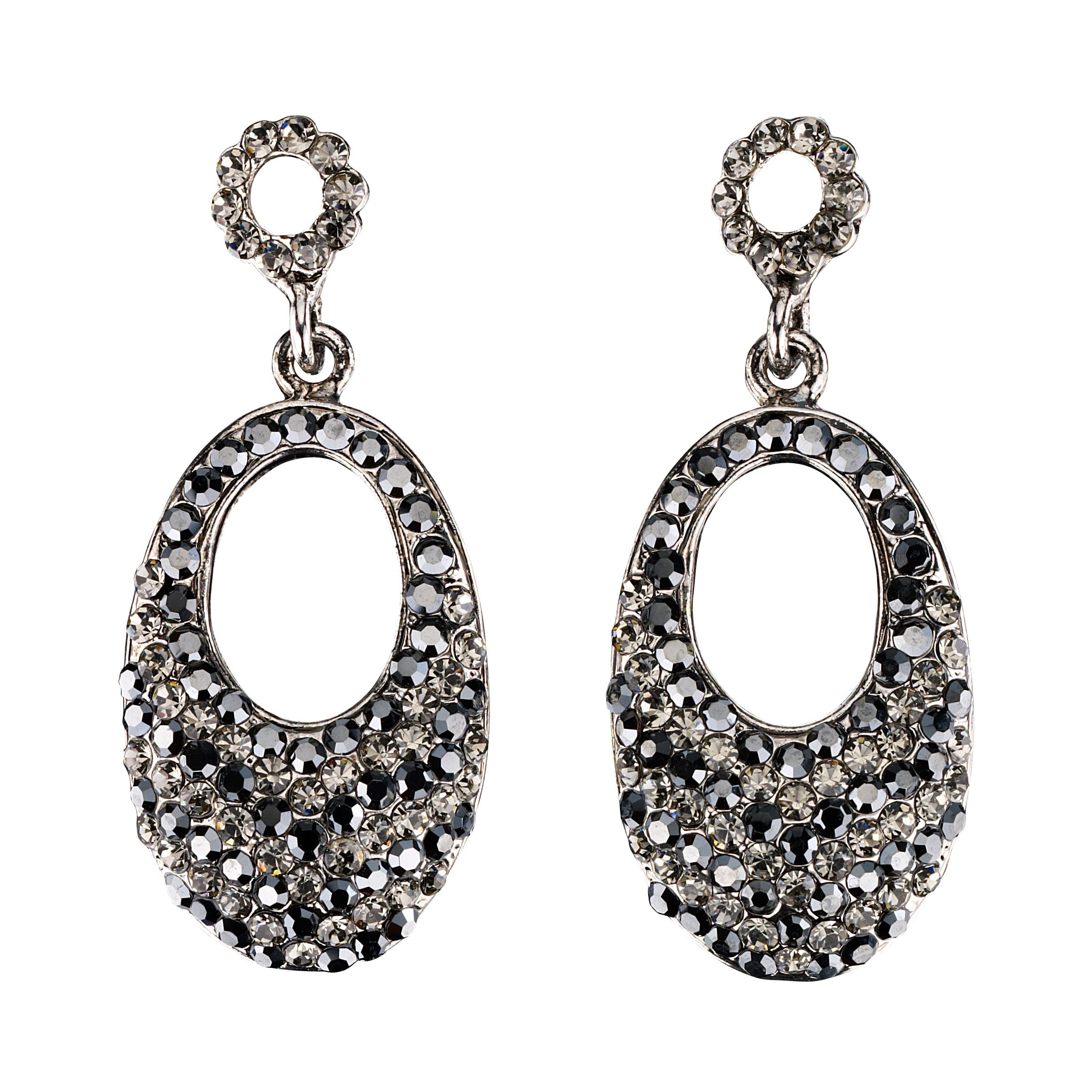 a65adde76768b5 Oval Crystal Drop Earrings with Black Diamond and Jet Black Swarovski  Crystal