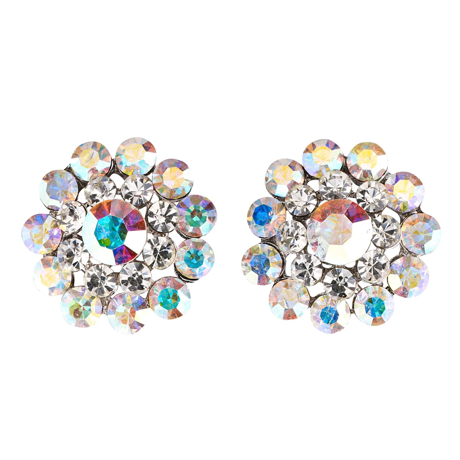 ccd0f6ed3 Swarovski Crystal Flower AB and Clear Crystal Stud Earrings - 18mm Diameter
