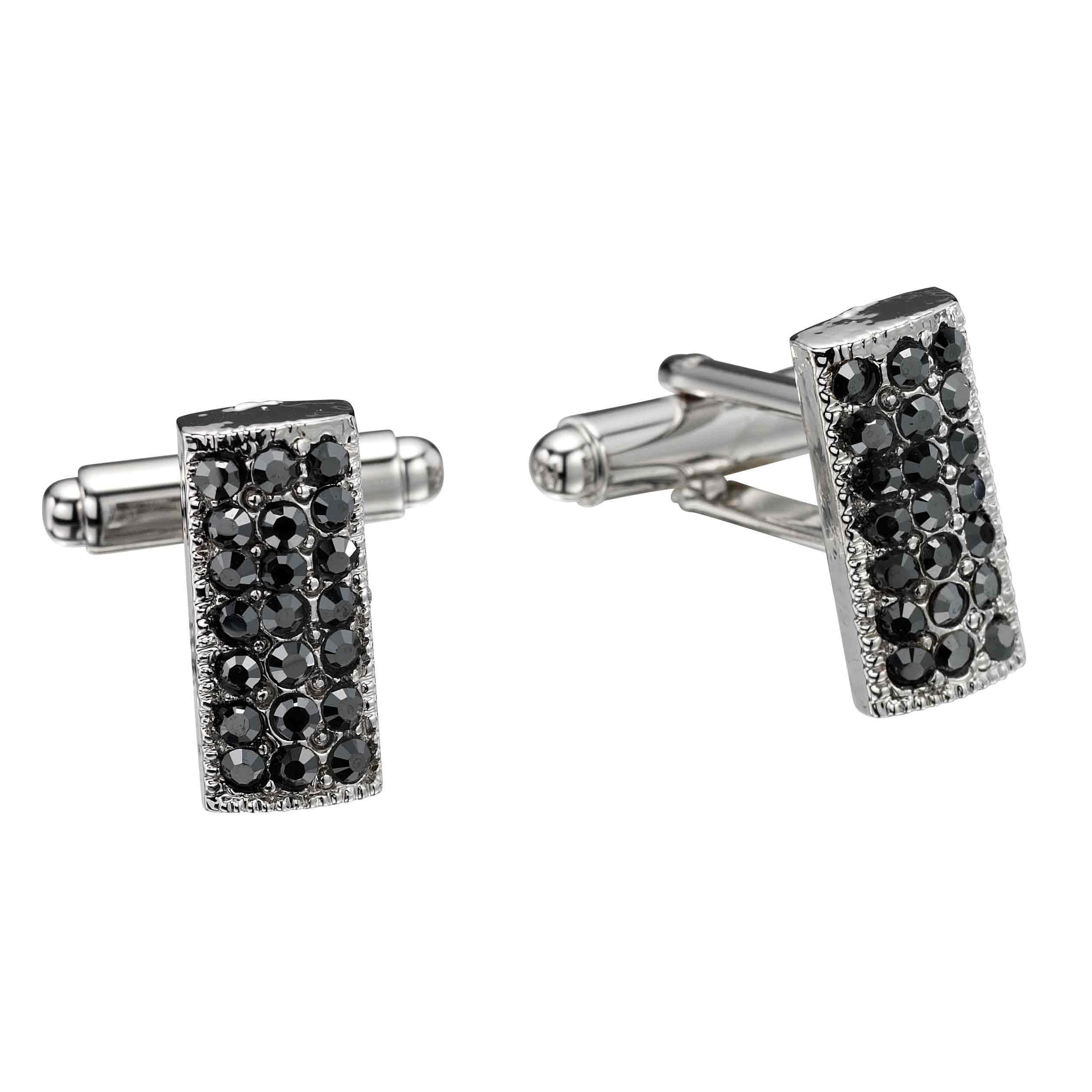 Jet Black Rectangle Swarovski Crystal Cufflinks Gemini London
