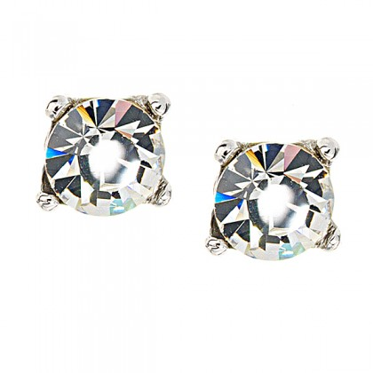 Clear Crystal Stud Earrings, White Diamond Swarovski Crystal - 9mm Diameter
