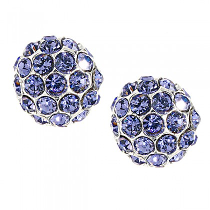 Purple Crystal Stud Earrings, Swarovski Crystal 12mm Diameter