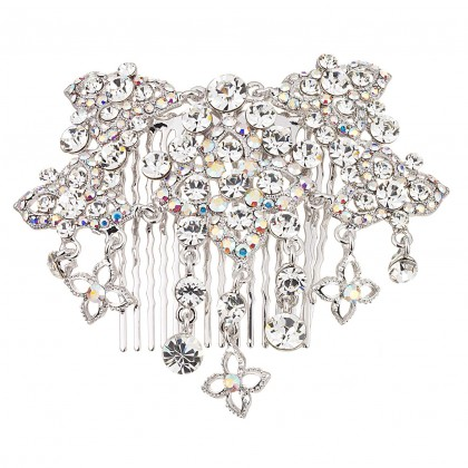 AB & Clear Swarovski Crystal Flower Hair Comb AB and White Diamond Swarovski Crystals