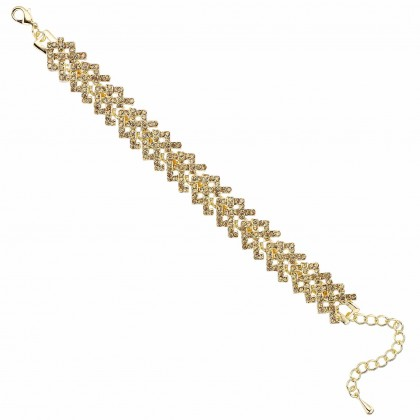 Gold Crystal Kriss Cross Mesh Bracelet