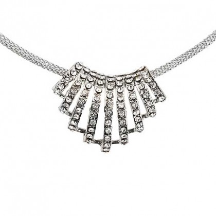 Linear Fan of White Diamond Swarovski Crystal Clusters Pendant Necklace