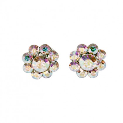 Swarovski AB Crystal Small Flower Stud Earrings - 14m Diameter