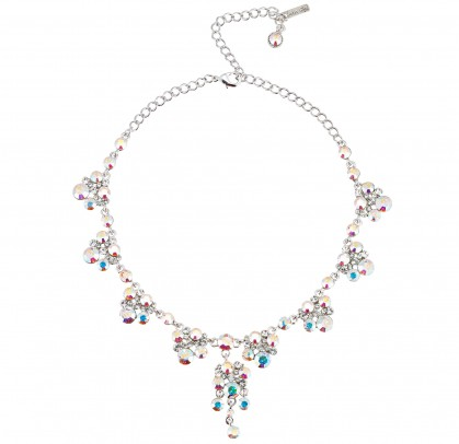 AB & Clear Crystal Necklace - 8 Cluster Drops made with Swarovski Crystals