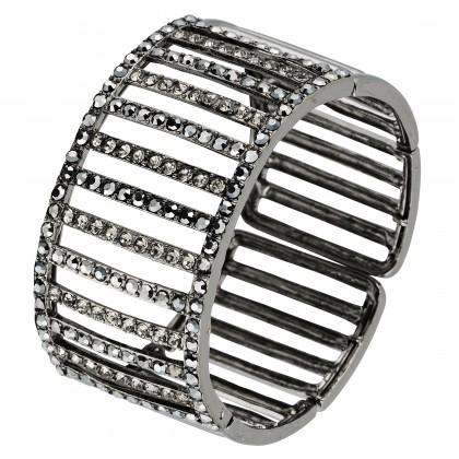 Swarovski Crystal Cuff Adjustable Bracelet, Linear lines of Black Swarovski Crystals on Rhodium Plated Metal, Antique Silver finish