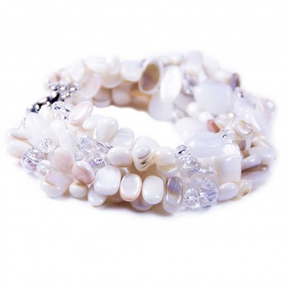 White & Cream Shells, Beads, Crystals 6 Stranded Bracelet UK Designer Bcharmd