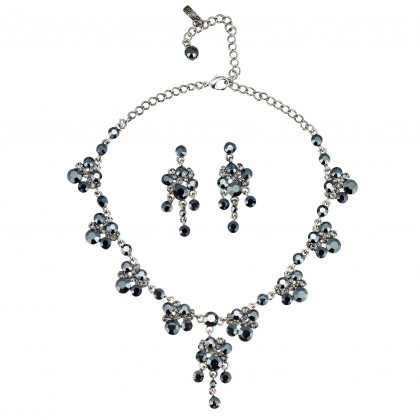 Black Crystal Necklace and Earring Set, Cluster Drops Swarovski Black Crystal