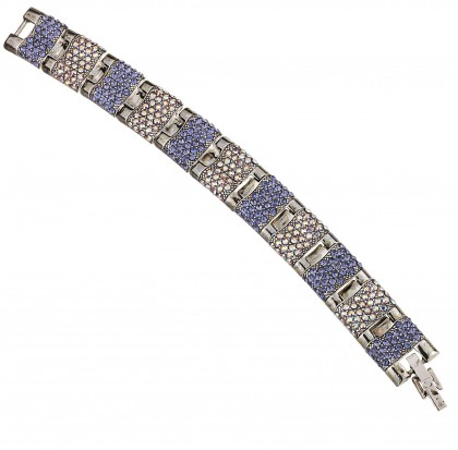 Blue Crystal Bracelet, Panelled Links, tanzanite