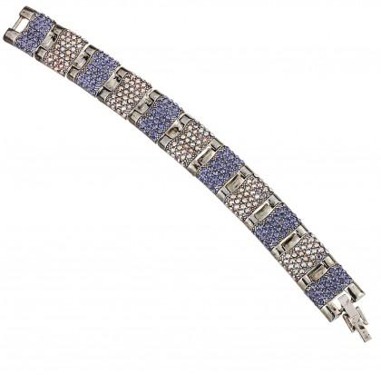 Blue Crystal Bracelet, Panelled Links, tanzanite