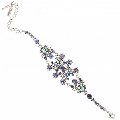 Blue Crystal Vintage Floral Bracelet