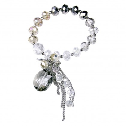 Crystal Charm Bracelet, Smokey Quartz, Black & Clear Crystals. Designer bcharmd, England UK