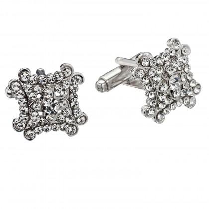 White Diamond Square Decorate Swarovski Crystal Cufflinks Gemini London