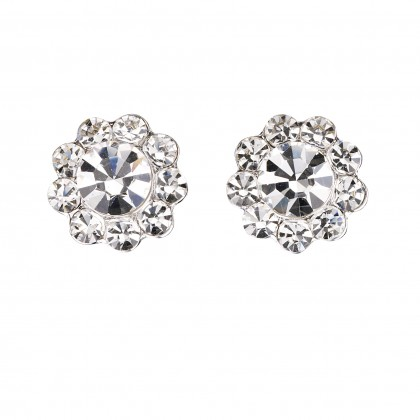 Clear Crystal Stud Earrings - Small Flower, 17mm Diameter