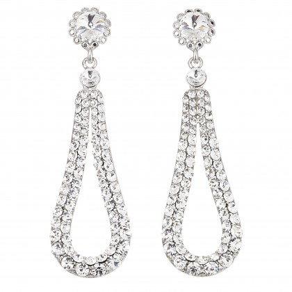 Fashion Loop Swing Earrings Swarovski White Diamond Crystals