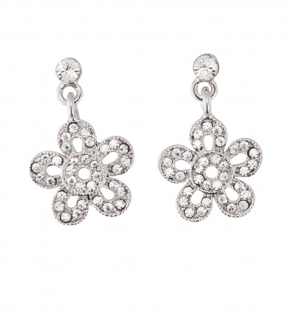 Flower Drop Earrings - Swarovski Crystals, 26mm drop Length, Rhodium Plated Silver Finish.