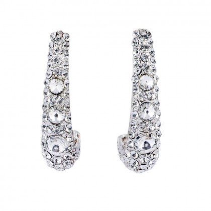 Clear Crystal Long Cuff Earrings, 50mm Drop, Swarovski Crystal