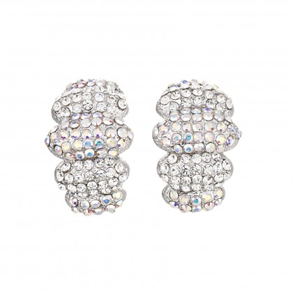 Gemini London Jewellery's Tonal Oval Cuff Earrings - Made with Swarovski Crystals, 25mm Length, Rhodium Plated Silver Finish.