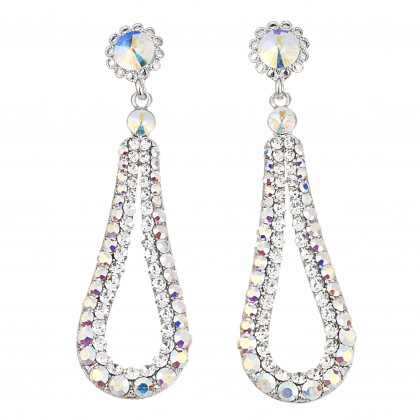 Fashion Loop Swing Earrings Swarovski AB and White Diamond Crystals