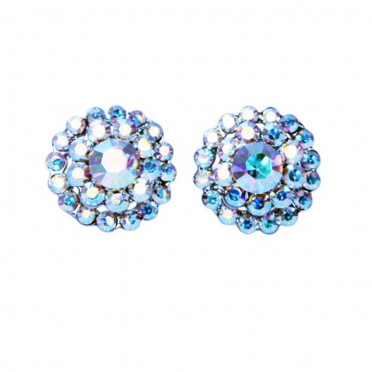 Gemini London AB Swarovski Crystal Hollywood Flower Cluster Stud Earrings 22mm Diameter Studs, Rhodium Plated Silver Finish.