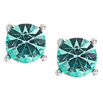 Gemini London Jewellery's Single 9mm Aqua Blue Swarovski Stud Earrings - Made with Aqua Blue Swarovski Crystals, Nickel Free, Rhodium Plated Silver Finish.