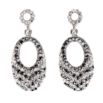 Swarovski Jet Black White Diamond Crystal oval drop earrings