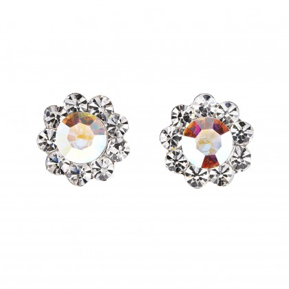 Swarovski White Diamond and AB Crystal Small Flower Stud Earrings - 17m Diameter