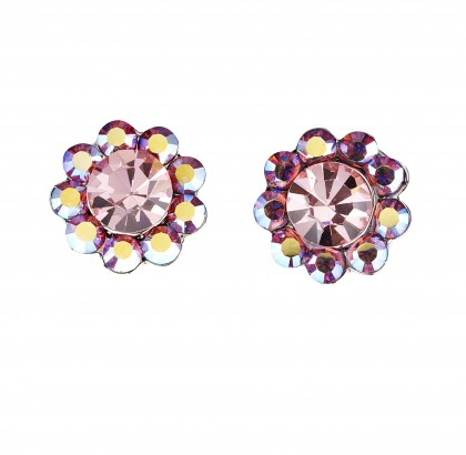 Gemini London UK Jewellery's, Light Rose and Pink AB Swarovski Crystal Flower Stud Earrings,  17mm Diameter , Rhodium Plated Silver Finish.