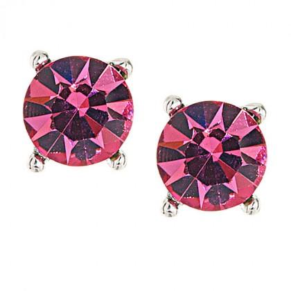 Pink Crystal Stud Earrings, Fuchsia Pink Swarovski Crystal - 9mm Diameter