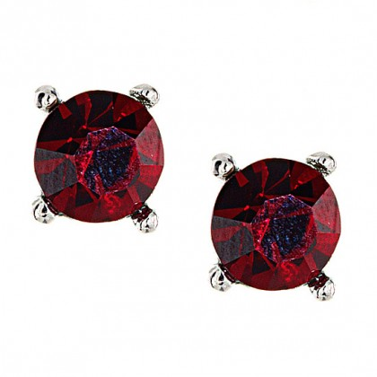 Crystal Stud Earrings, Ruby Red Swarovski Crystal - 9mm Diameter