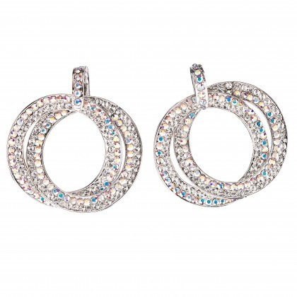 Double Circle Hoops Crystal Earrings with AB and White Diamond Swarovski Crystal - length 45mm - Gemini London, nickel free base metal Rhodium Plating