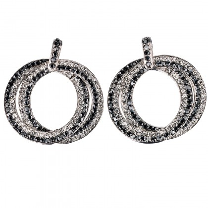Double Circle Hoops Crystal Earrings with Jet Black and White Diamond Swarovski Crystal - length 45mm - Gemini London