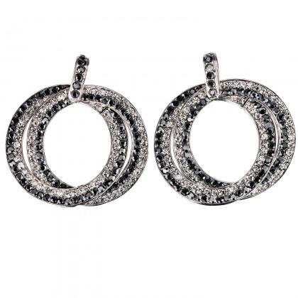 Double Circle Hoops Crystal Earrings with Jet Black and White Diamond Swarovski Crystal - length 45mm - Gemini London