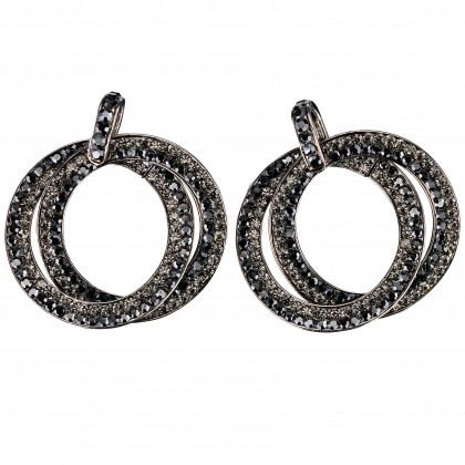Double Circle Hoops Crystal Earrings with Jet Black and Black Diamond Swarovski Crystal - length 45mm - Gemini London