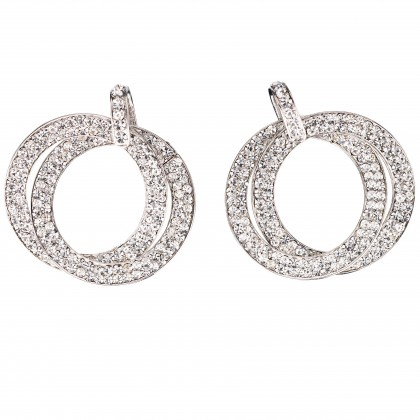 Double Circle Hoops Crystal Earrings with Swarovski Crystal - length 45mm - Gemini London, nickel free base metal Rhodium Plating
