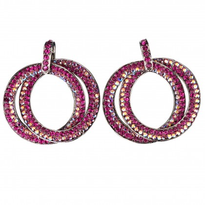 Double Circle Hoops Crystal Earrings with Pink, Fuchsia, AB Pink Swarovski Crystal - length 45mm - Gemini London