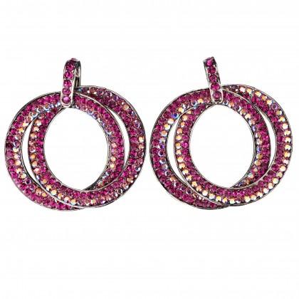 Double Circle Hoops Crystal Earrings with Pink, Fuchsia, AB Pink Swarovski Crystal - length 45mm - Gemini London