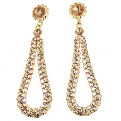 Fashion Loop Swing Earrings Swarovski Gold and AB Topax Crystals