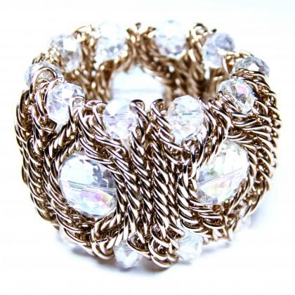 Bcharmd Gold Bracelet Large Beads Cuff