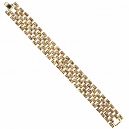 Gold Crystal Linked Bracelet