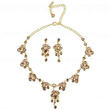 Blue CrystGold Crystal Necklace and Earrings Set, Chandelier Drop