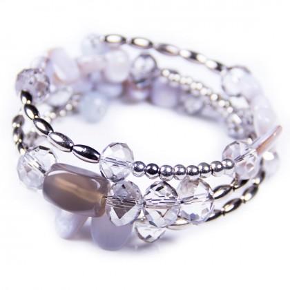 Grey Spiral Bracelet, Shell Beads, Crystal. Designer bcharmd, England UK