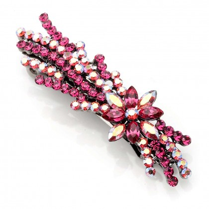 Pink Fiesta Swarovski Crystal Flower Spray Hair Slide, Gemini London