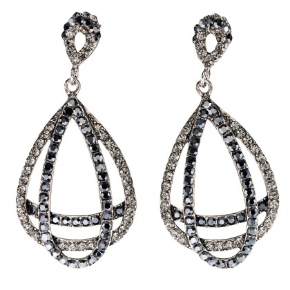 Entwined Double Pear Drop Crystal Earrings with Black and Black Diamond Swarovski Crystal