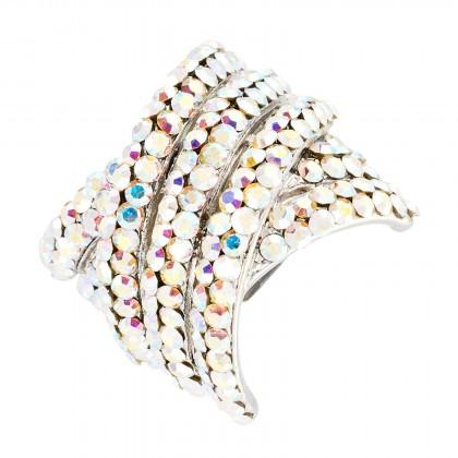 Kriss Cross, Adjustable Fashion Ring AB Swarovski Crystal, Rhodium Plated, Silver Finish. Gemini London Jewellery