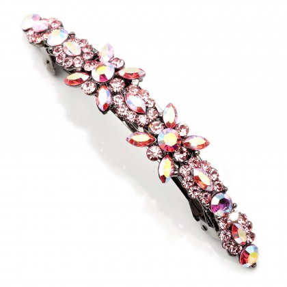 Pink Flower Cluster Hair Slide with Pink (Light Rose) and AB Light Rose Swarovski Crystals