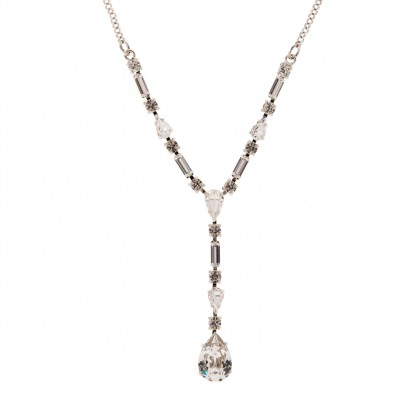Clear Crystal Necklace by Martine Wester, European Crystals, Nickel Free, Palladium Plated