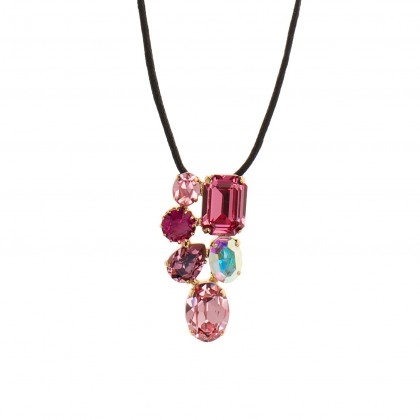 Martine Wester Crystal Craze Pink Pendant Necklace